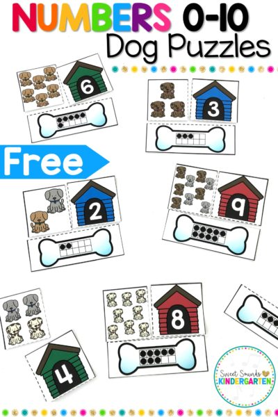 Numbers 0-10 Dog Themed Puzzles